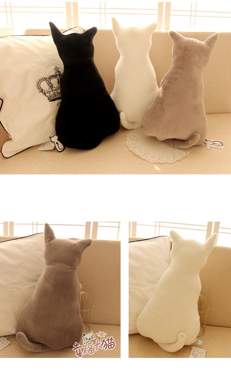 可爱剪影猫咪靠垫 背影猫毛绒玩具公仔 影子猫靠枕 生日礼物
