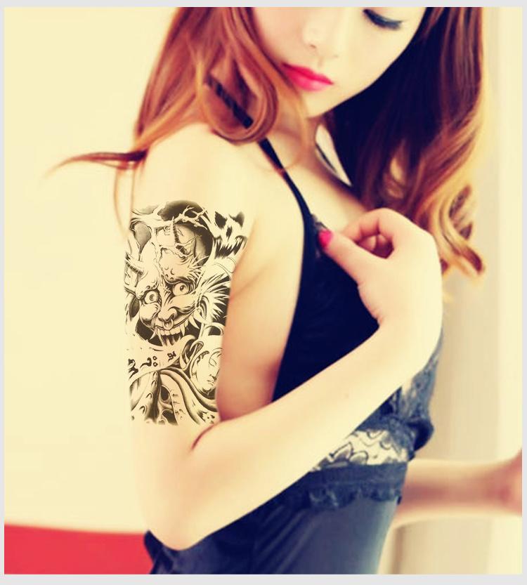 般诺防水纹身贴黑白经典款 花臂大图纹身贴纸男148