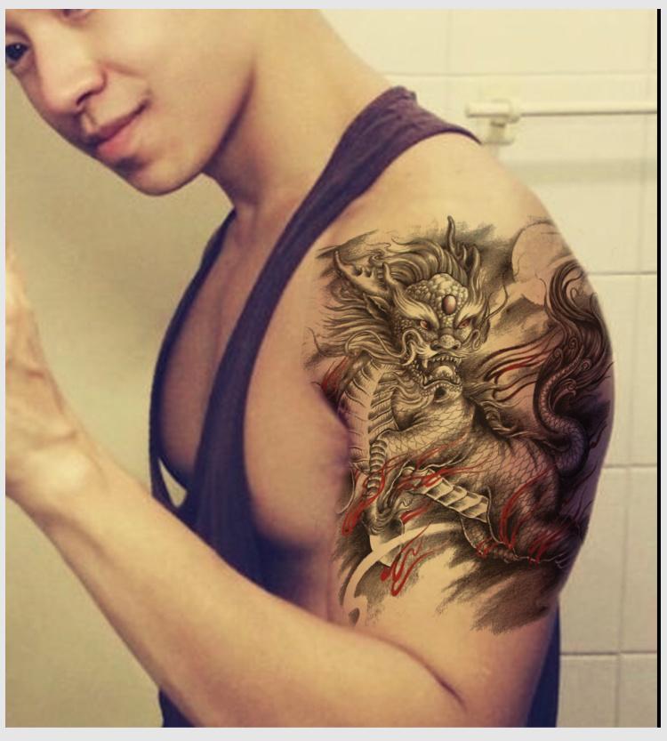 手臂麒麟纹身图案男分享展示
