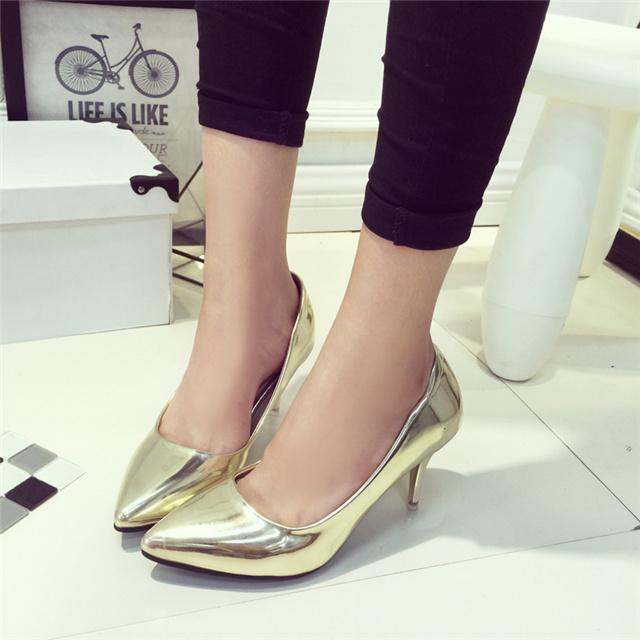 银色爆款单根高跟鞋