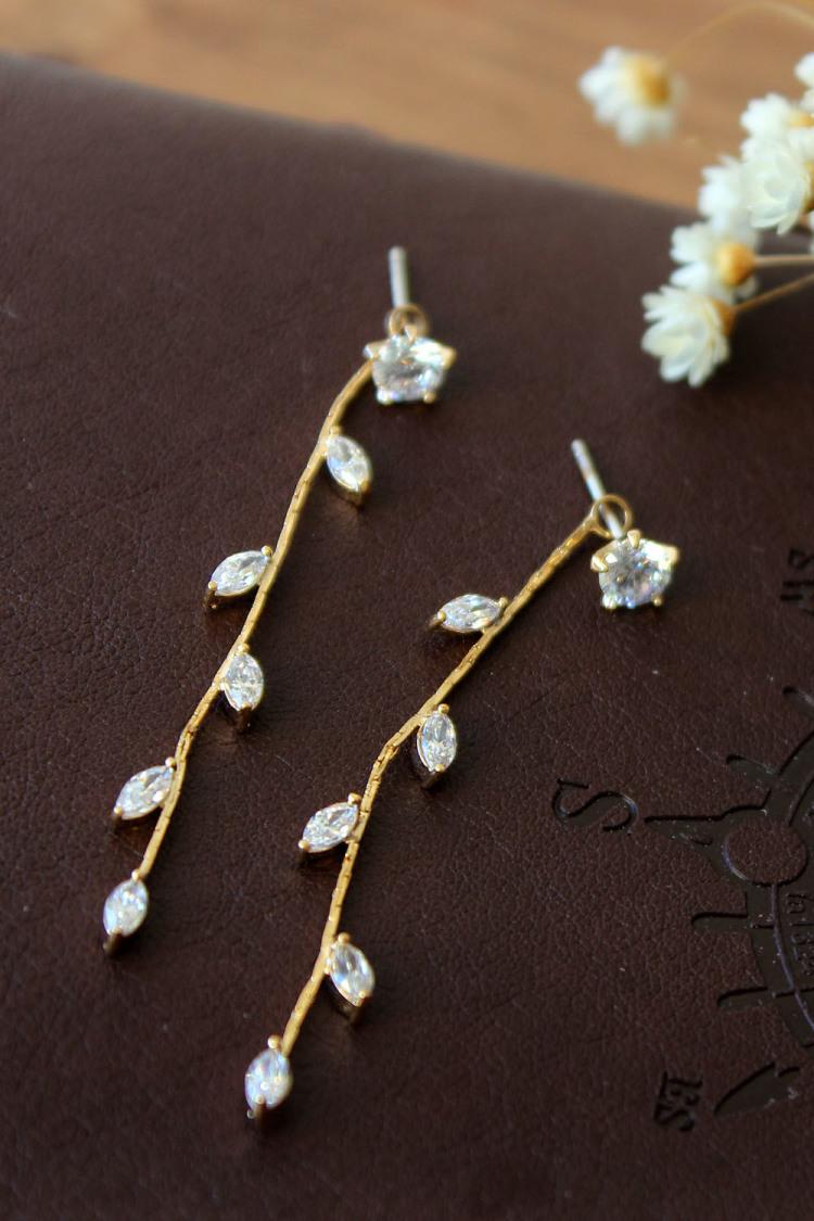 925银针水滴流苏树叶镶钻长款耳环