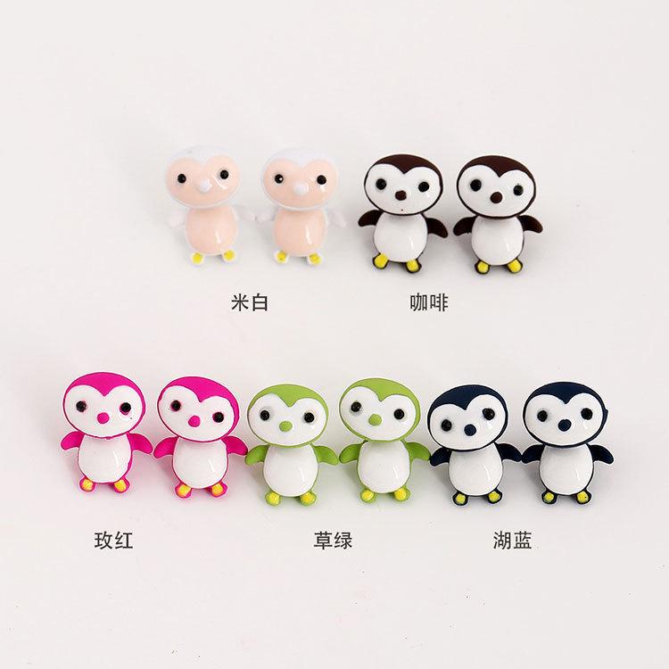 韩国时尚新品 卡通动物企鹅分体合金耳钉 可爱q萌