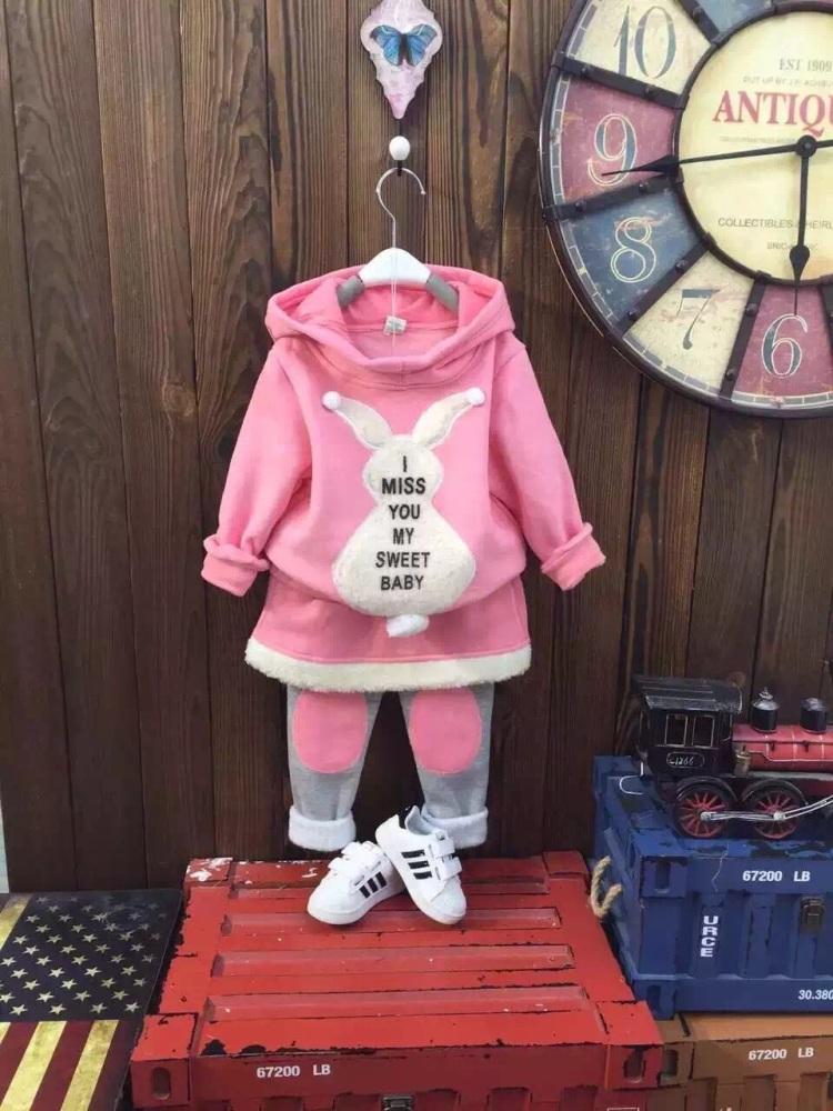 【可爱小白兔花型羊羔毛绣加绒三件套】-无类目-母婴