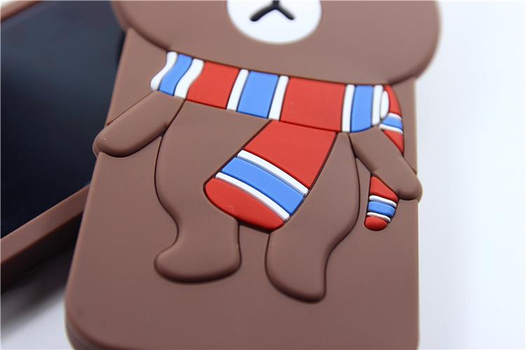可爱硅胶布朗熊苹果6/6s/6ps/5s情侣手机壳