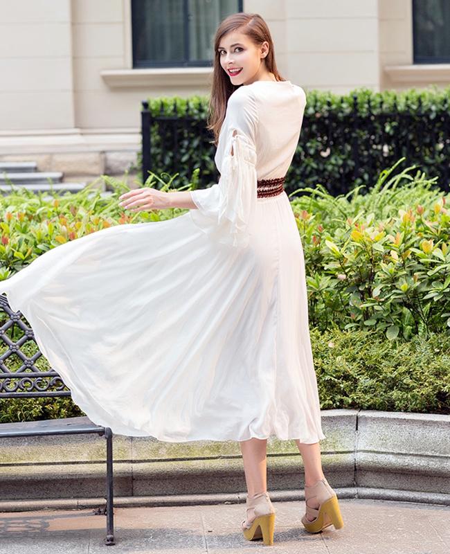 复古欧洲站喇叭袖宫廷雪纺长裙连衣裙欧式拖地裙子波西米亚长裙