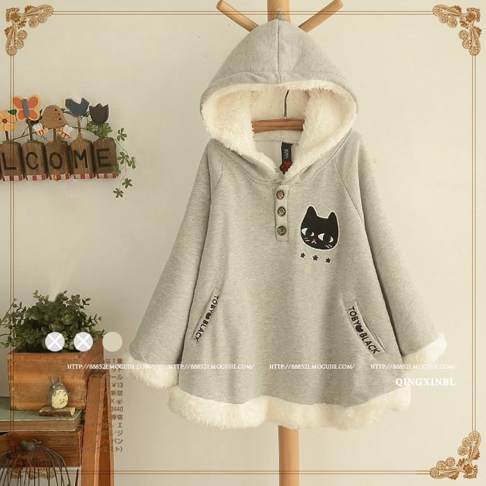 【冬季新款 连帽可爱猫咪贴布加绒棉斗篷】-衣服-服饰