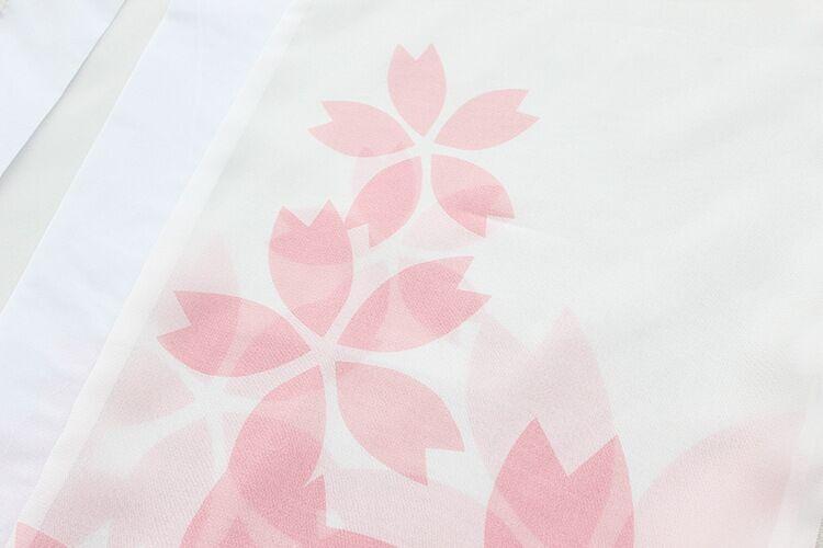 日系和风刺绣短裙高腰印花雪纺外套
