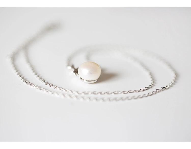 925纯银鹿角珍珠吊坠项链 个性手工麋鹿镶嵌淡水珍珠锁骨链女