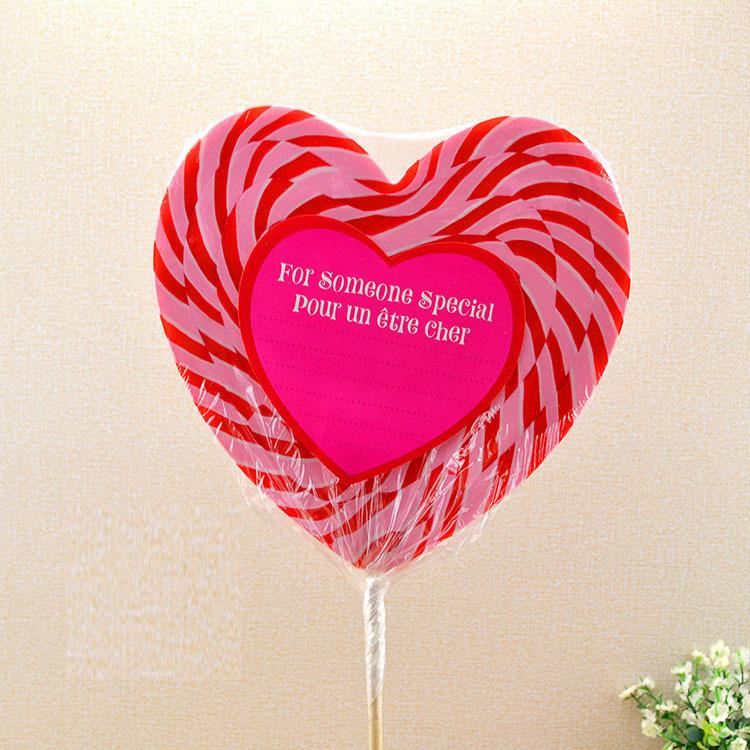包邮500g超大可爱心形礼盒装创意礼物七彩波板棒棒糖果
