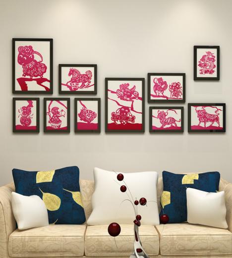 中国风十二生肖剪纸系列领头羊图案家居室内创意装饰画挂画照片墙图片