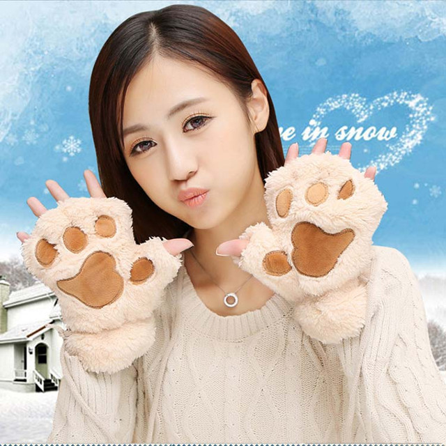 【卡通猫爪手套男女冬季韩版可爱女生露指加厚保暖半