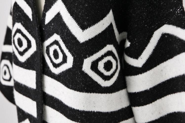 【韩版个性菱形波浪花纹毛衣开衫】-衣服-服饰鞋包