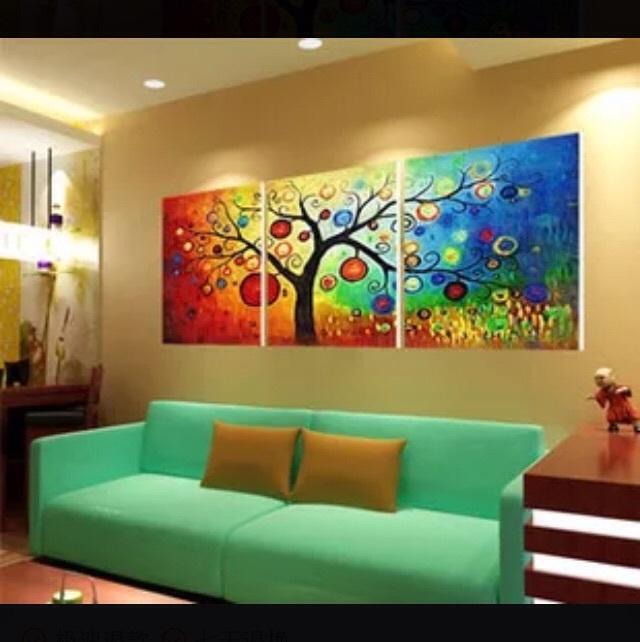 油画三联三拼欧式大幅客厅风景花卉人动物手绘装饰画