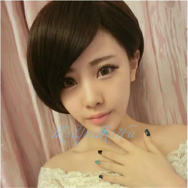 假发短发超斜长刘海女短直发整顶假发套