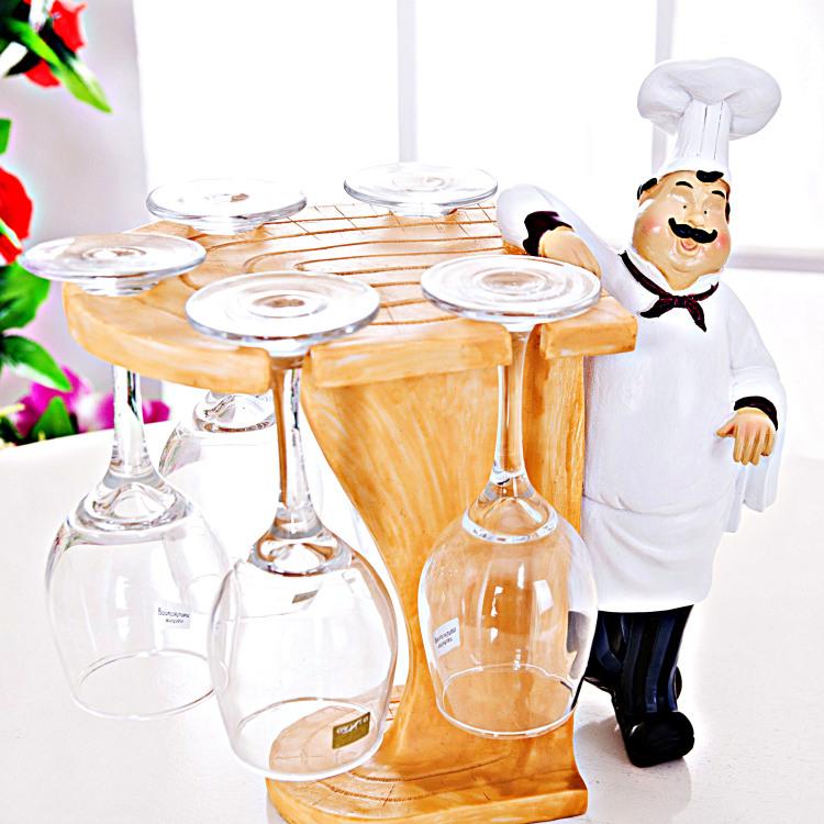 【厨师创意家居用品红酒杯架欧式厨房摆件】-无类目