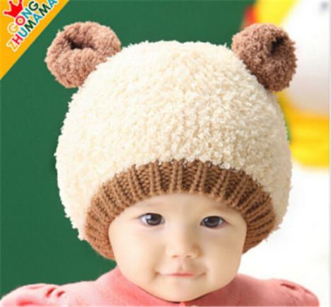 宝宝儿童帽子秋冬季1-2岁套头冬天男女童婴儿毛线帽子韩国