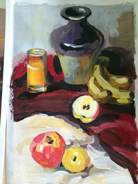 水果组合水粉画