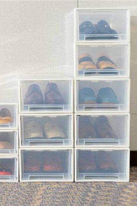 汇丰信佳 加厚抽屉式透明塑料鞋盒 男女鞋子收纳盒 防尘组合鞋柜