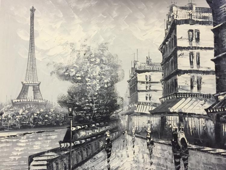 黑白街景原创手绘油画