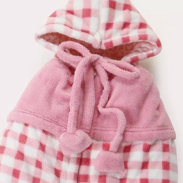 秋冬珊瑚绒格子男女宝宝婴儿披风连帽儿童背带斗篷