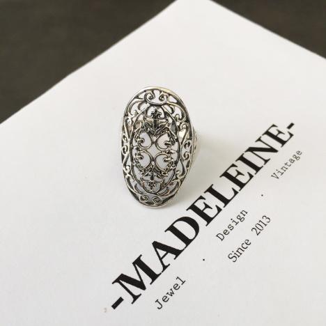 925纯银 镂空 古藤 花纹 戒指