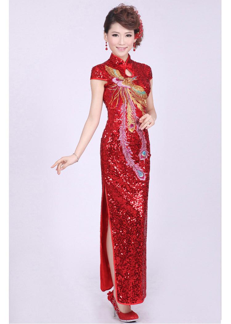 【新款中国风优雅改良红色结婚旗袍裙】-衣服-旗袍