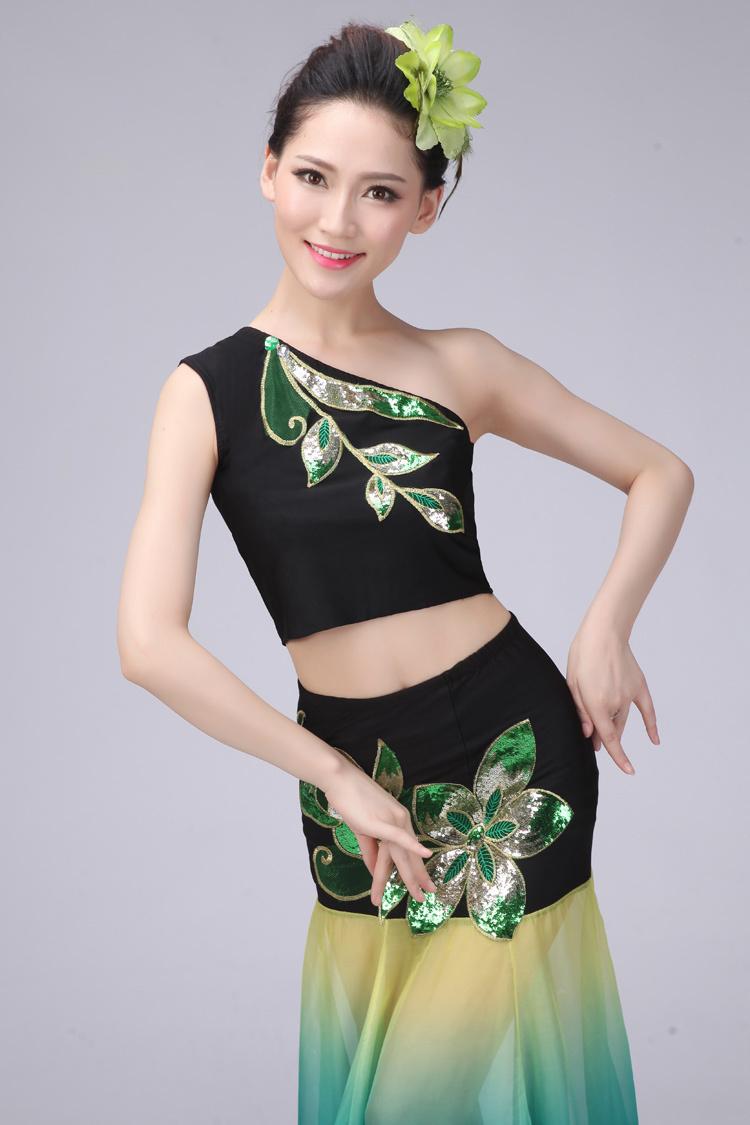 新款孔雀飞来傣族舞蹈演出服装女鱼尾裙儿童孔雀舞蹈服大摆裙