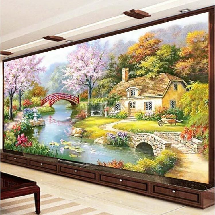 【印花十字绣新款客厅欧式油画花园小屋山水风景画