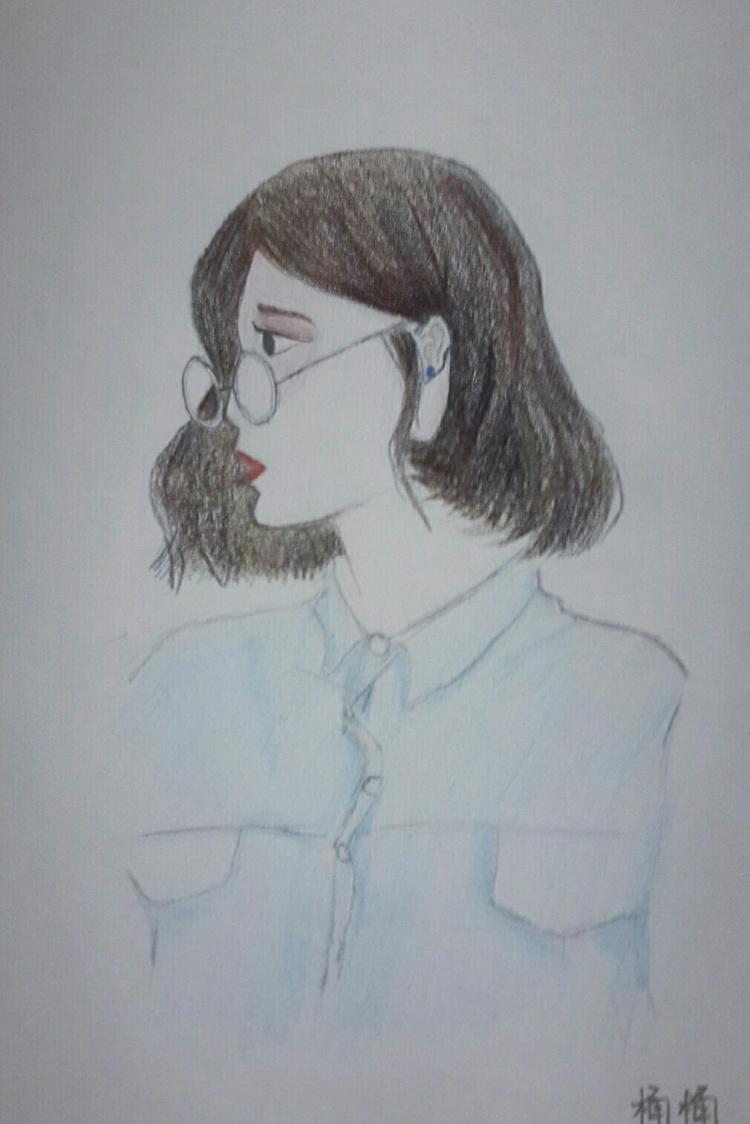 手绘彩色素描画像