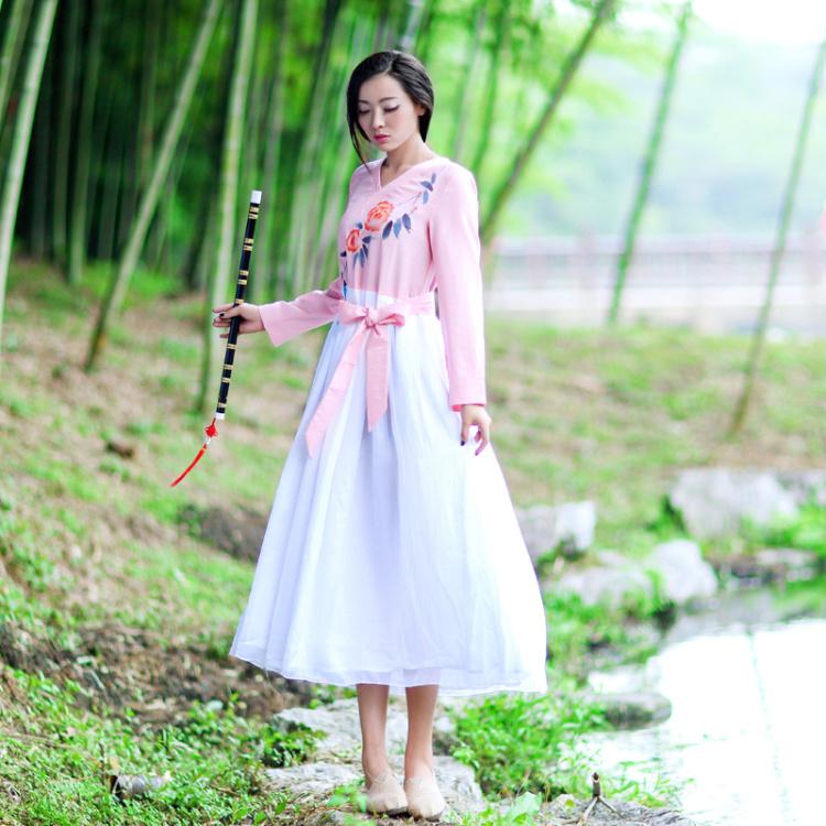 将琴带语-原创中国风手绘汉元素长裙 汉服棉麻连衣裙