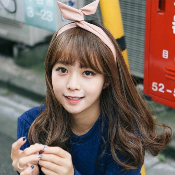 【韩国新款假发女卷发空气刘海中长发直发长卷发蓬松图片