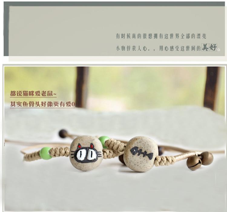 【猫和鱼】手绘陶瓷情侣手链 铃铛手链1bccgm