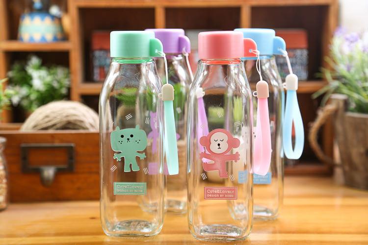 【创意奶瓶卡通动物玻璃情侣水杯】-null-百货