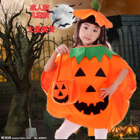 万圣节成人穿南瓜衣幼儿园表演服装儿童南瓜衣南瓜帽南瓜裙南瓜灯