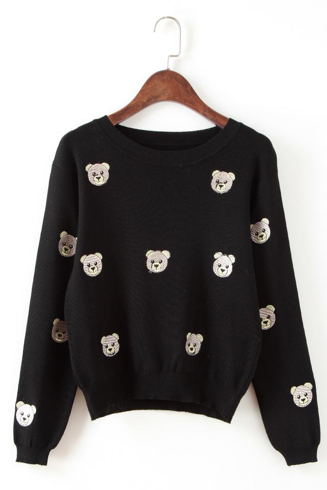 刺绣小熊套头毛衣