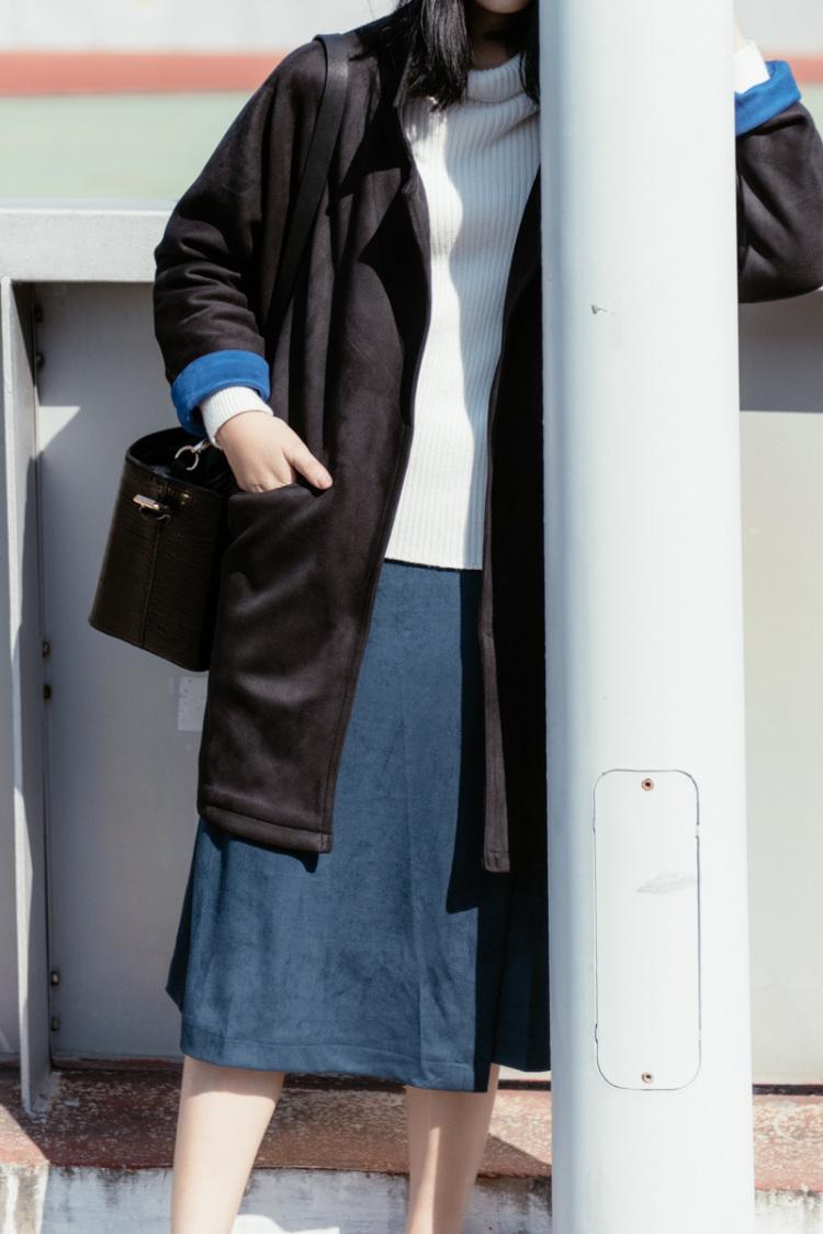 秋冬新款女装 复古优雅圆环腰带一片式显瘦鹿皮绒半身裙