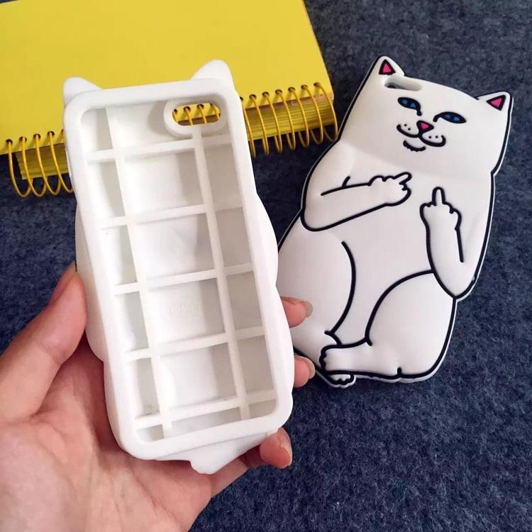 【可爱卡通中指口袋贱猫6s硅胶套手机壳苹果6plus
