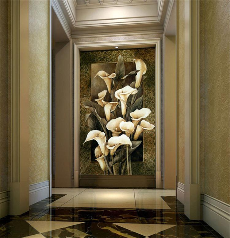 【5d方钻满钻贴钻客厅钻石画复古欧式白色马蹄莲油画
