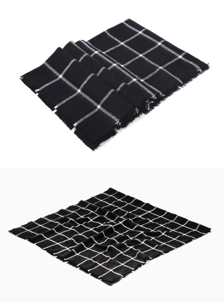 韩版黑白格子围巾