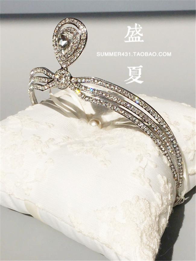 新娘王冠丸子头饰品约瑟芬皇后加冕皇冠结婚纱配饰礼品合金大水钻