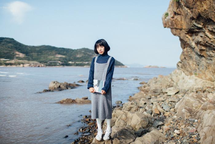 日系文艺复古 小清新 背带针织连衣裙