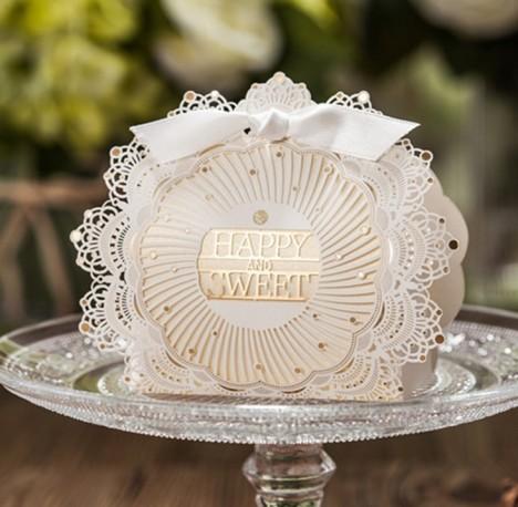 韩式欧式主题ah婚礼同款童话婚礼蕾丝白色高档糖盒满百包邮