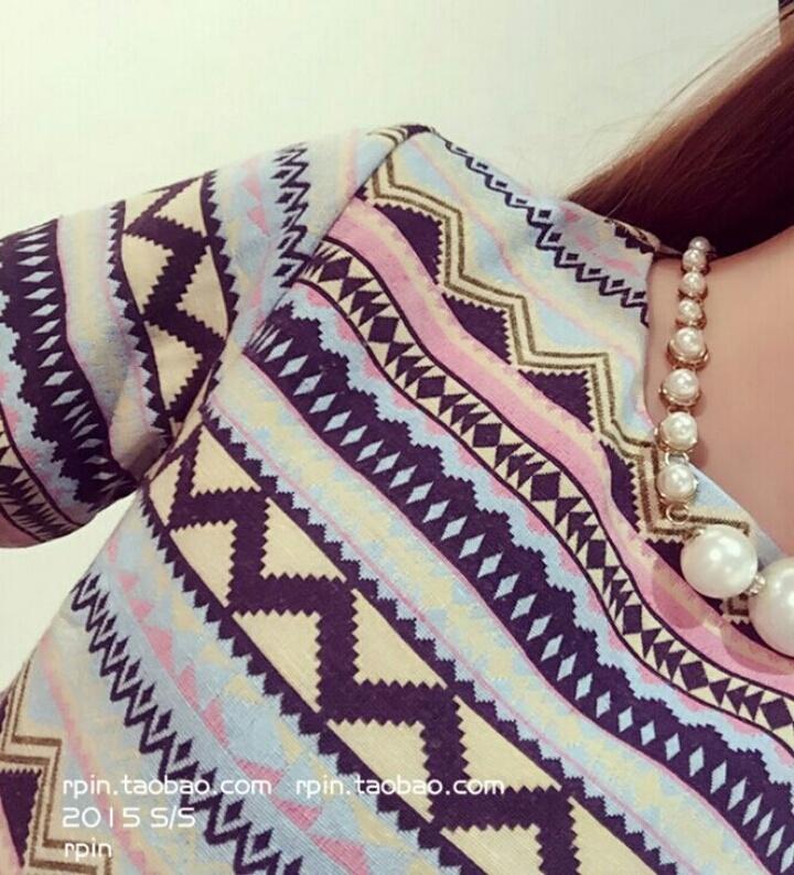 【2015初秋新品欧美复古民族风几何图案显瘦中袖宽松