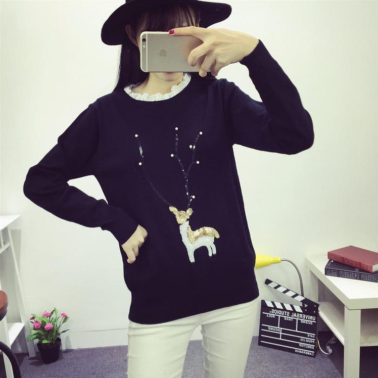 【韩版卡通小鹿图案花边领毛衣】-衣服-套头衫