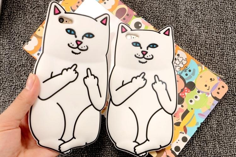 可爱竖中指口袋贱猫苹果6s硅胶套6plus手机壳 5s软壳