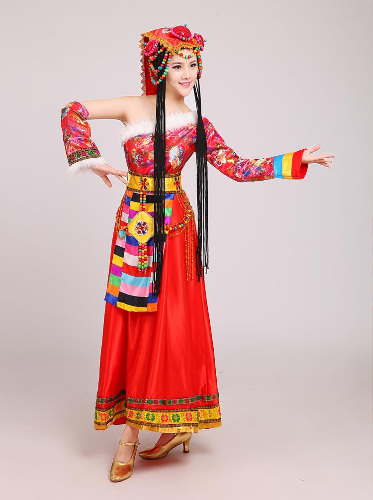 新款大气藏族舞蹈表演服饰女水袖藏族演出服长裙高档藏服包邮