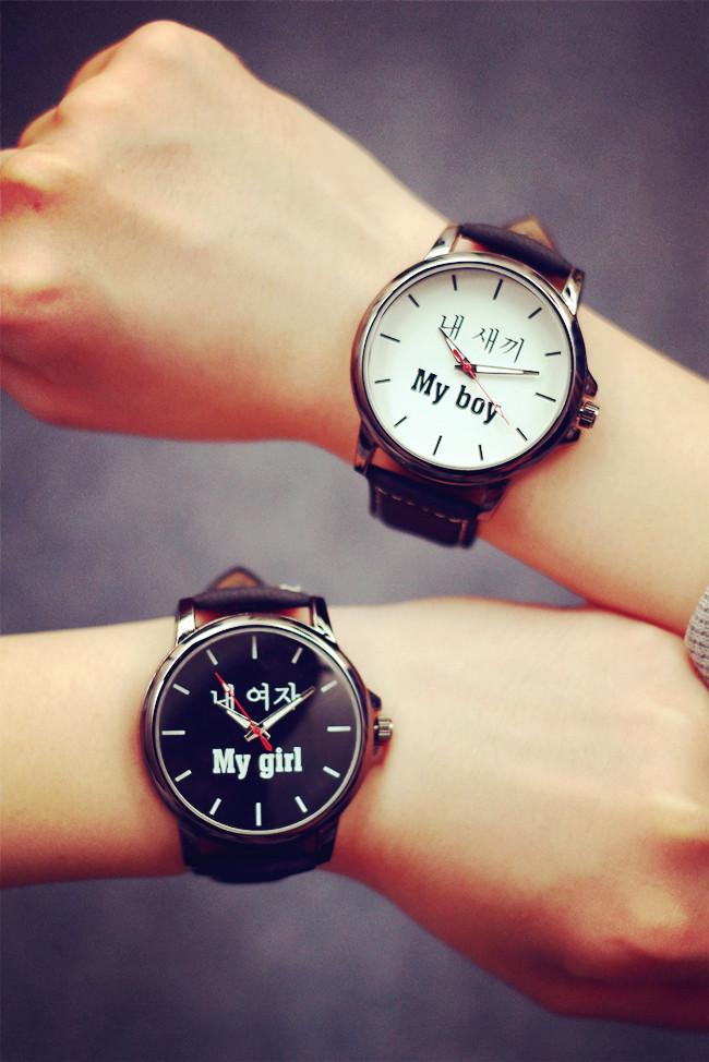 新款韩国原宿风文字控男女情侣一对手表