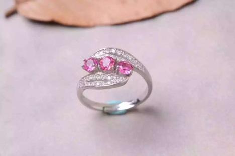 天然全红碧玺树叶形排戒指 925纯银镶嵌 指圈活口