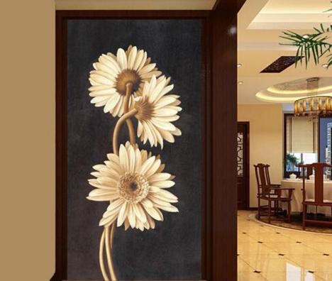 【手绘3d立体欧式玄关走廊过道背景墙壁纸大型壁画】