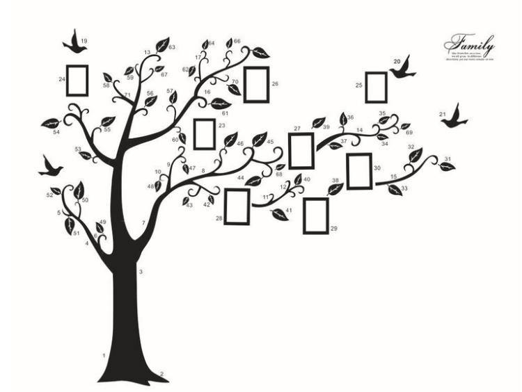 【美室】200*250cm黑色可移除记忆树照片树外贸墙贴纸